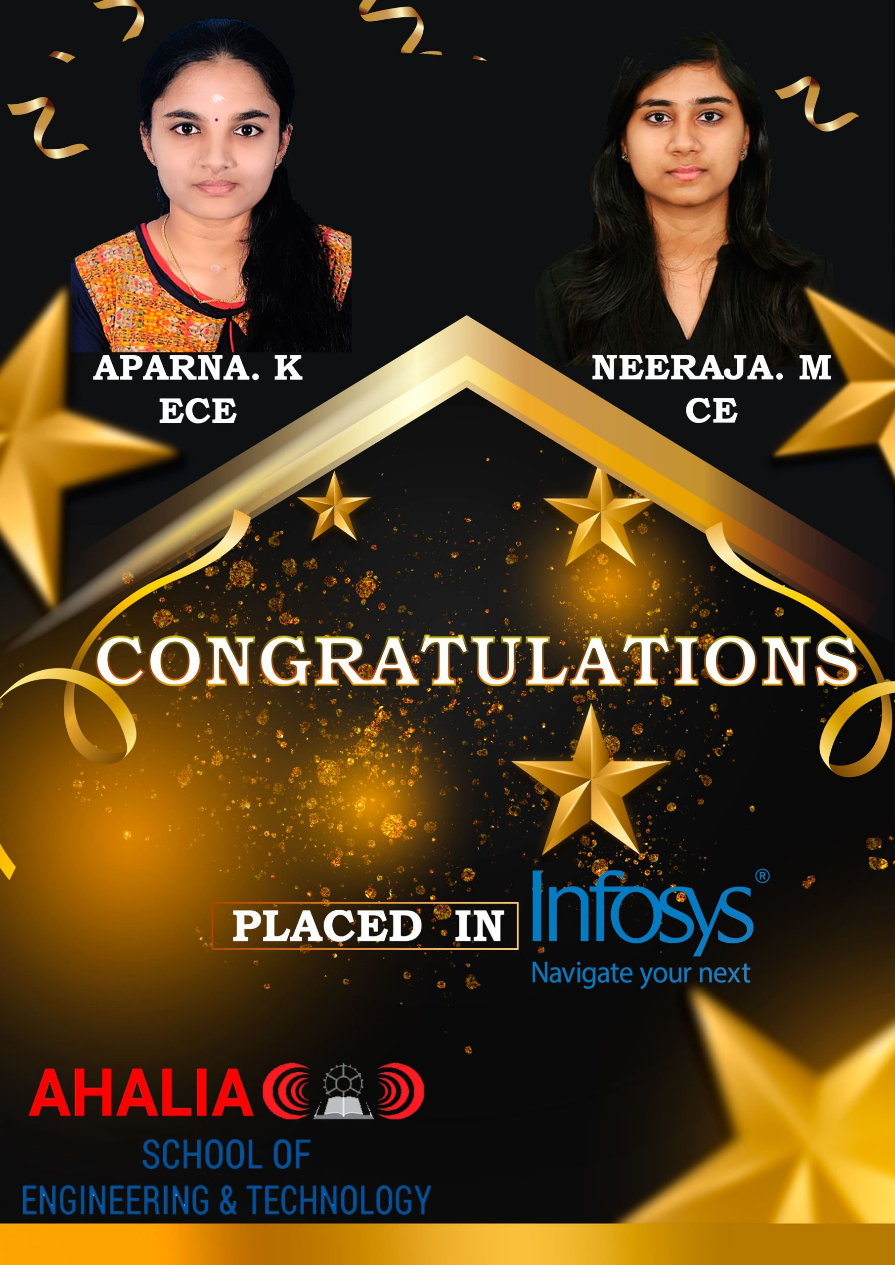 Aparna K. and Neeraja M. Placed in Infosys