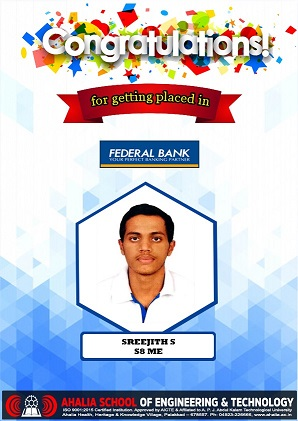 Sreejith S. Placed in Federal Bank