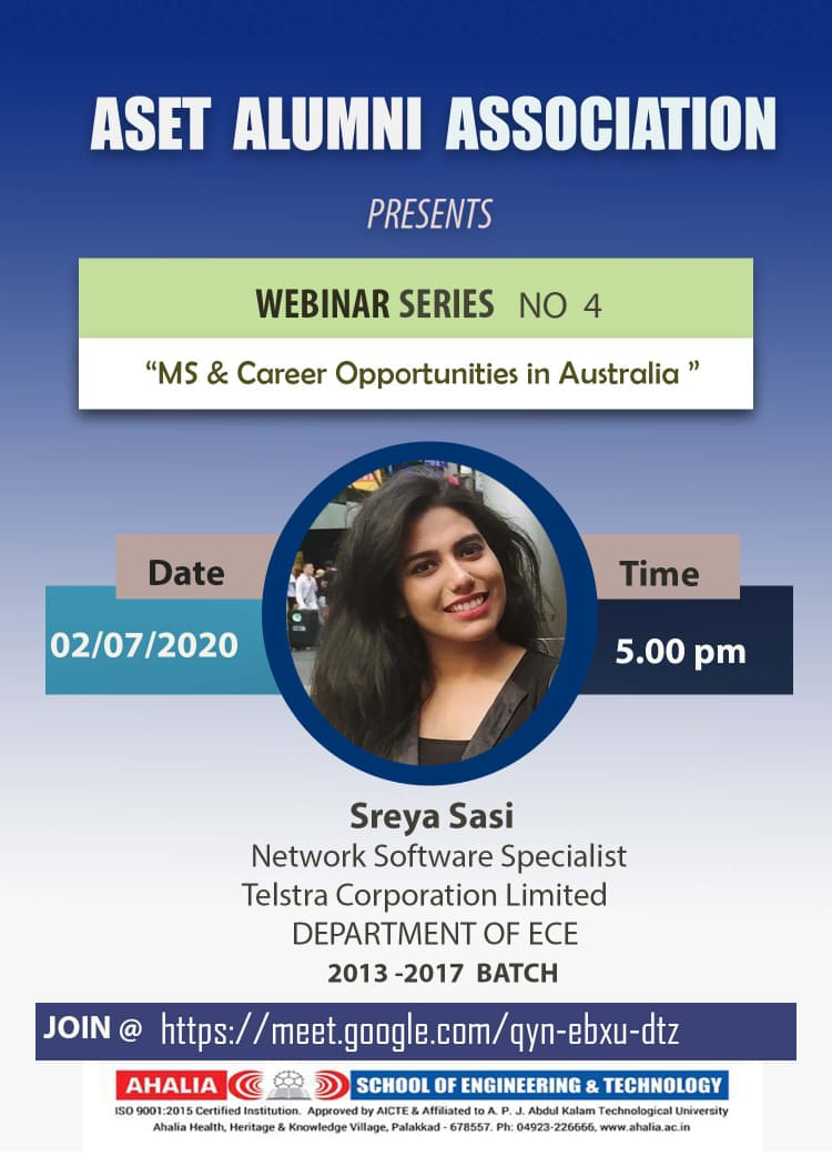 Alumni Webinar on MS and Career Opportunities in Australia