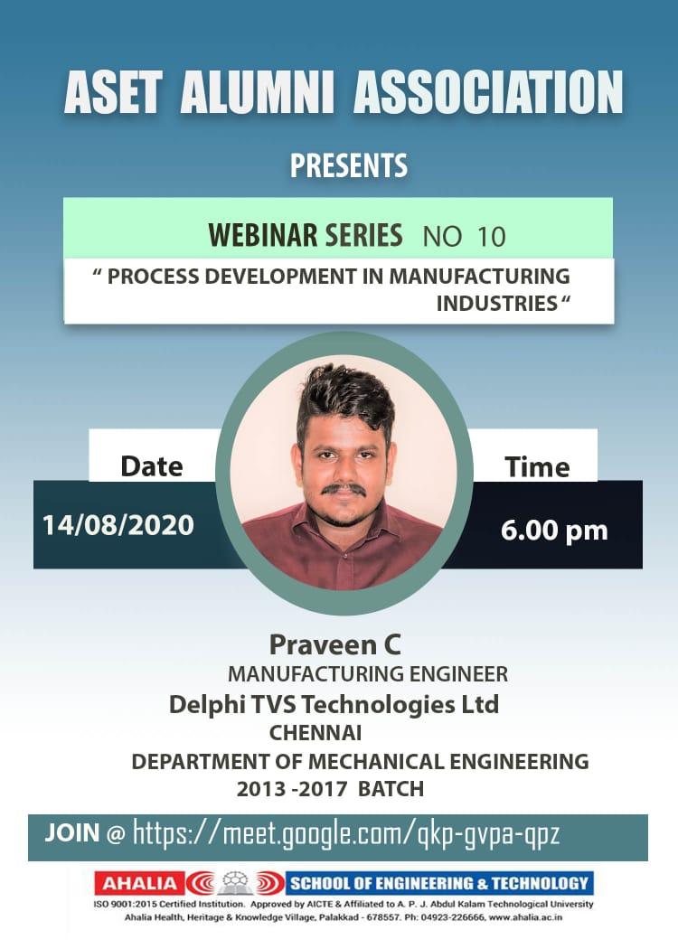 Webinar on 'Process Development In Manufacturing Industries'