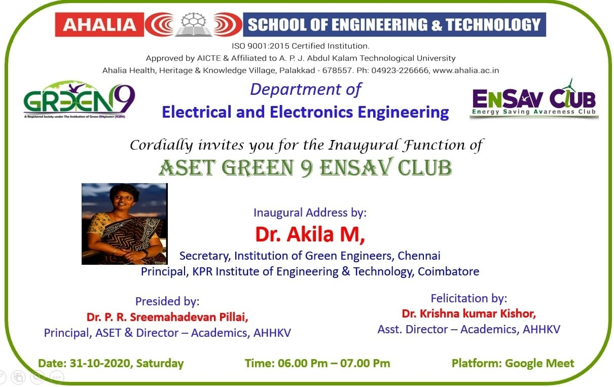 Inauguration of ASET Green 9 Ensav Club