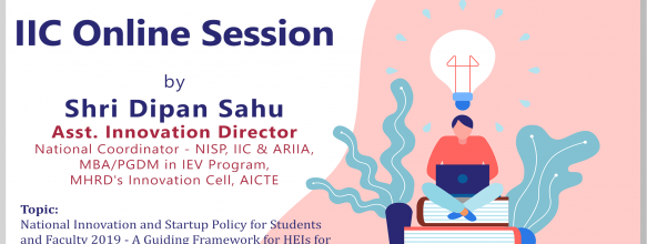 Webinar on National Innovation and Startup Policy for Students and Faculty 2019 – A Guiding Framework for HEIs for Implementation