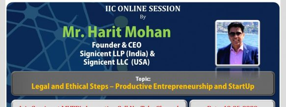 Webinar on 'Legal and Ethical Steps – Productive Entrepreneurship and Startup'