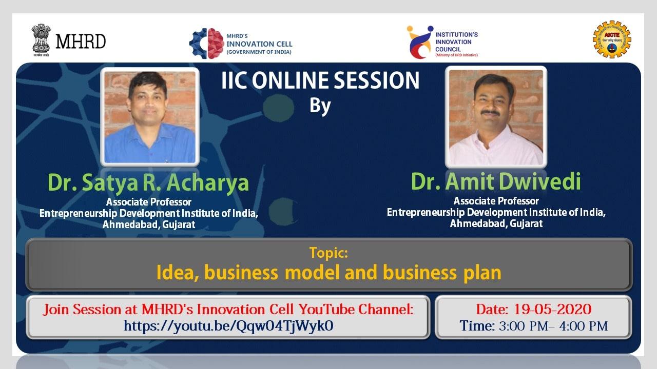 Webinar on 'Idea, Entrepreneurship Opportunities, Business Model and Business Plan'