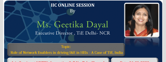 Webinar on Role of Network Enablers in driving I&E in HEIs – A Case of TiE, India