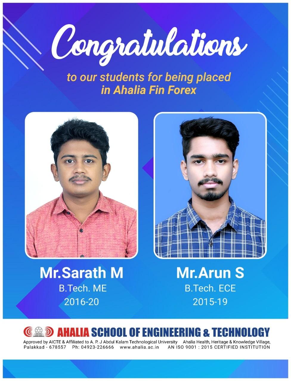 Sarath M., Arun S. Placed in Ahalia FinForex