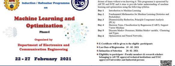 AICTE-ISTE Sponsored Programme on Machine  learning and Optimization