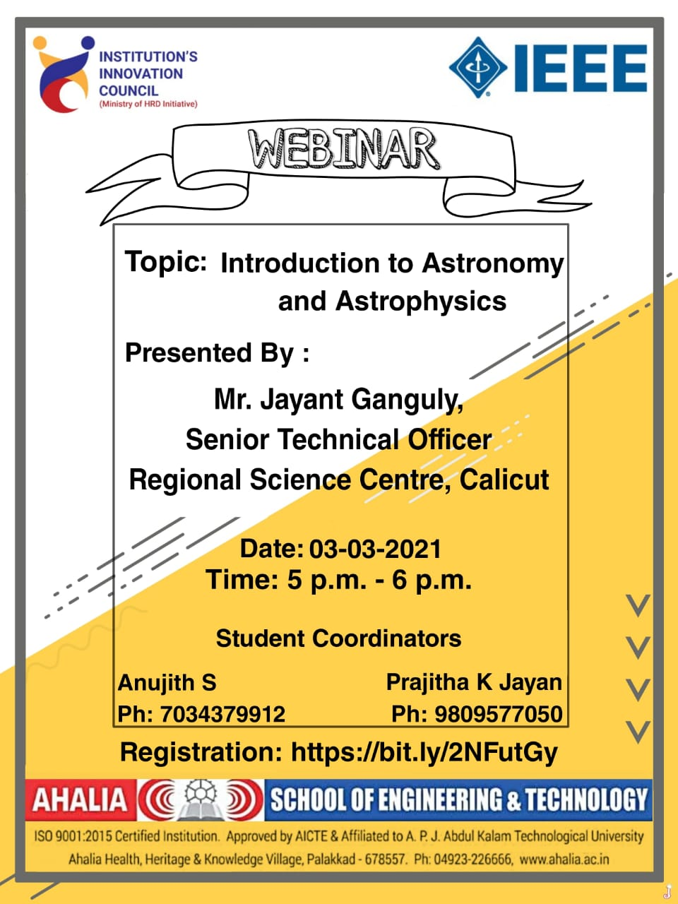 Webinar on 'Introduction to Astronomy and Astrophysics'