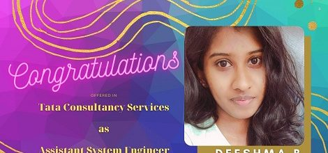 Deeshma B. Placed in TCS