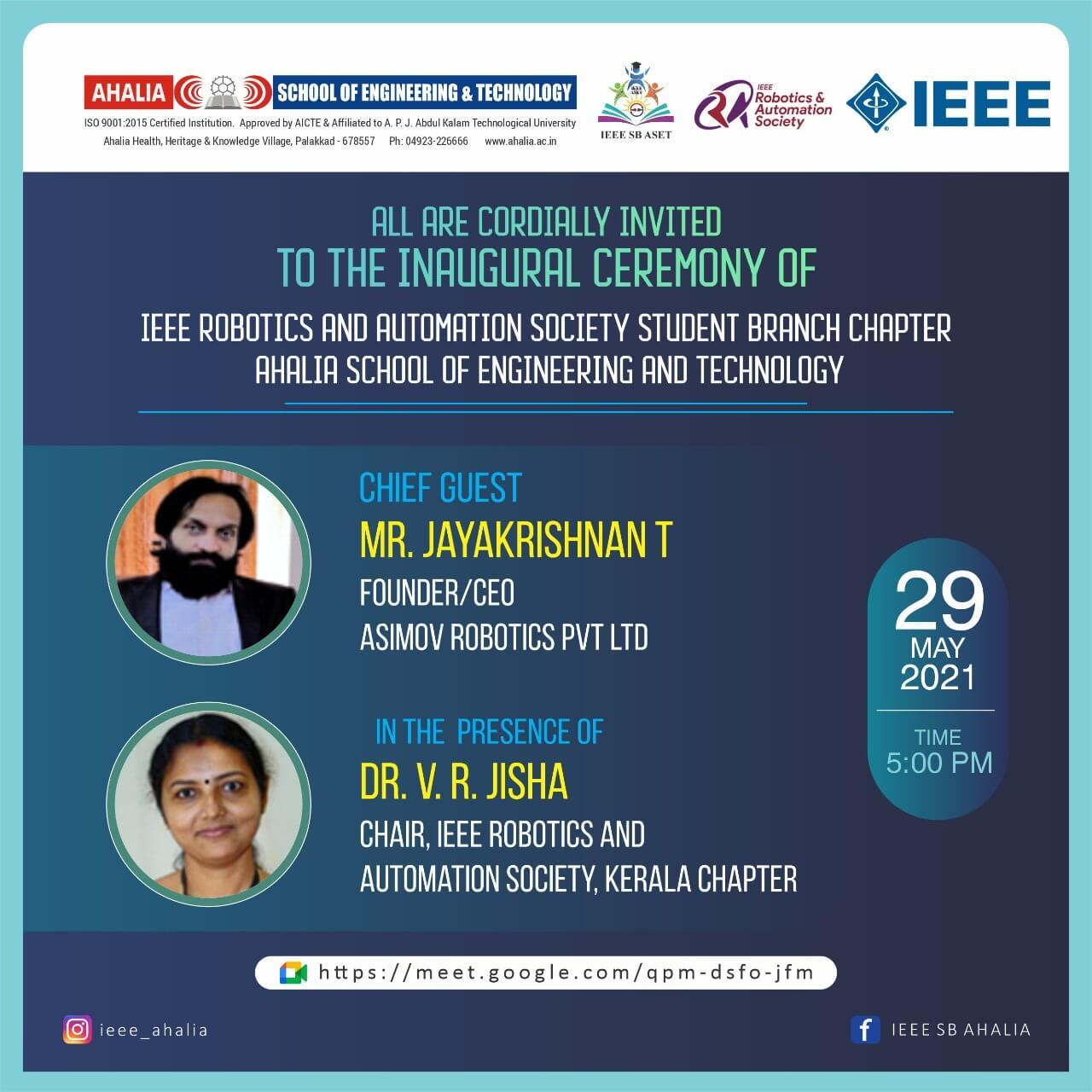 Inauguration of Robotics and Automation Society (RAS) SBC