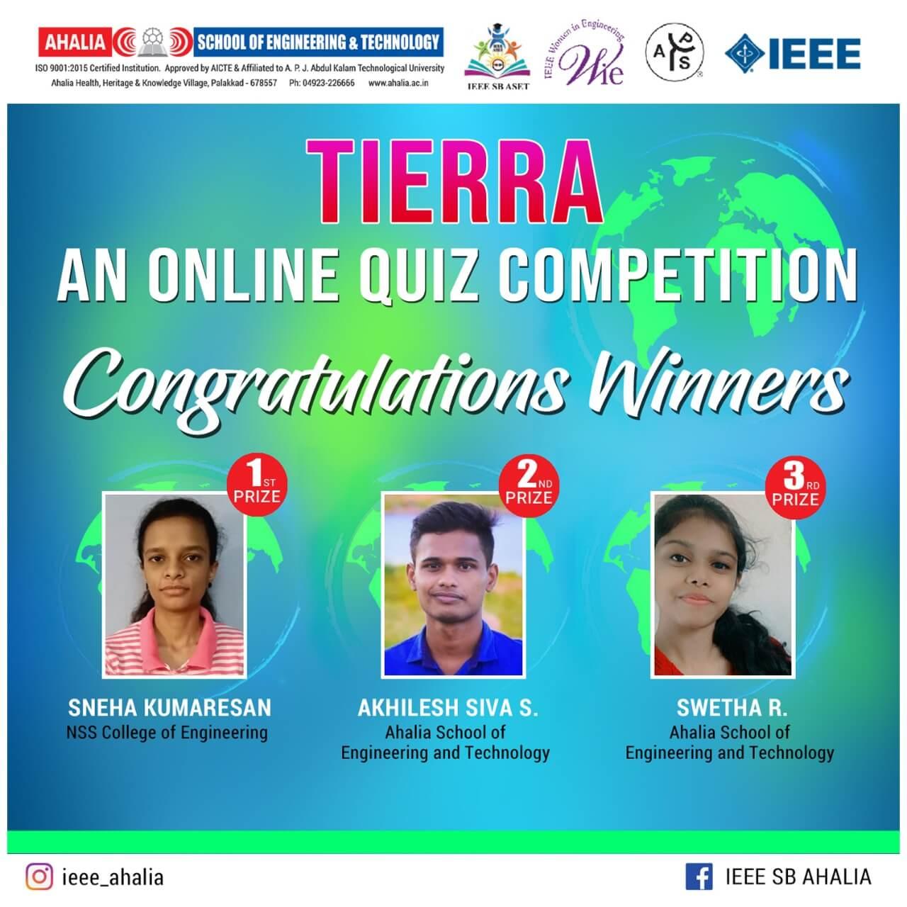 'Tierra' – Online Quiz Competition Winners
