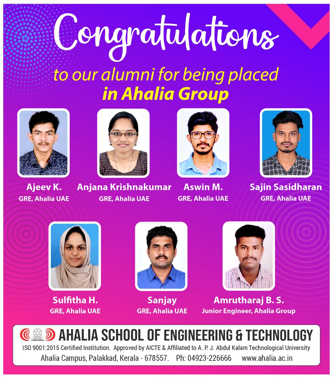 Seven Students Placed in Ahalia Group