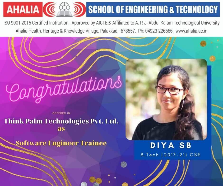 Diya S. B. Placed in Think Palm Technologies