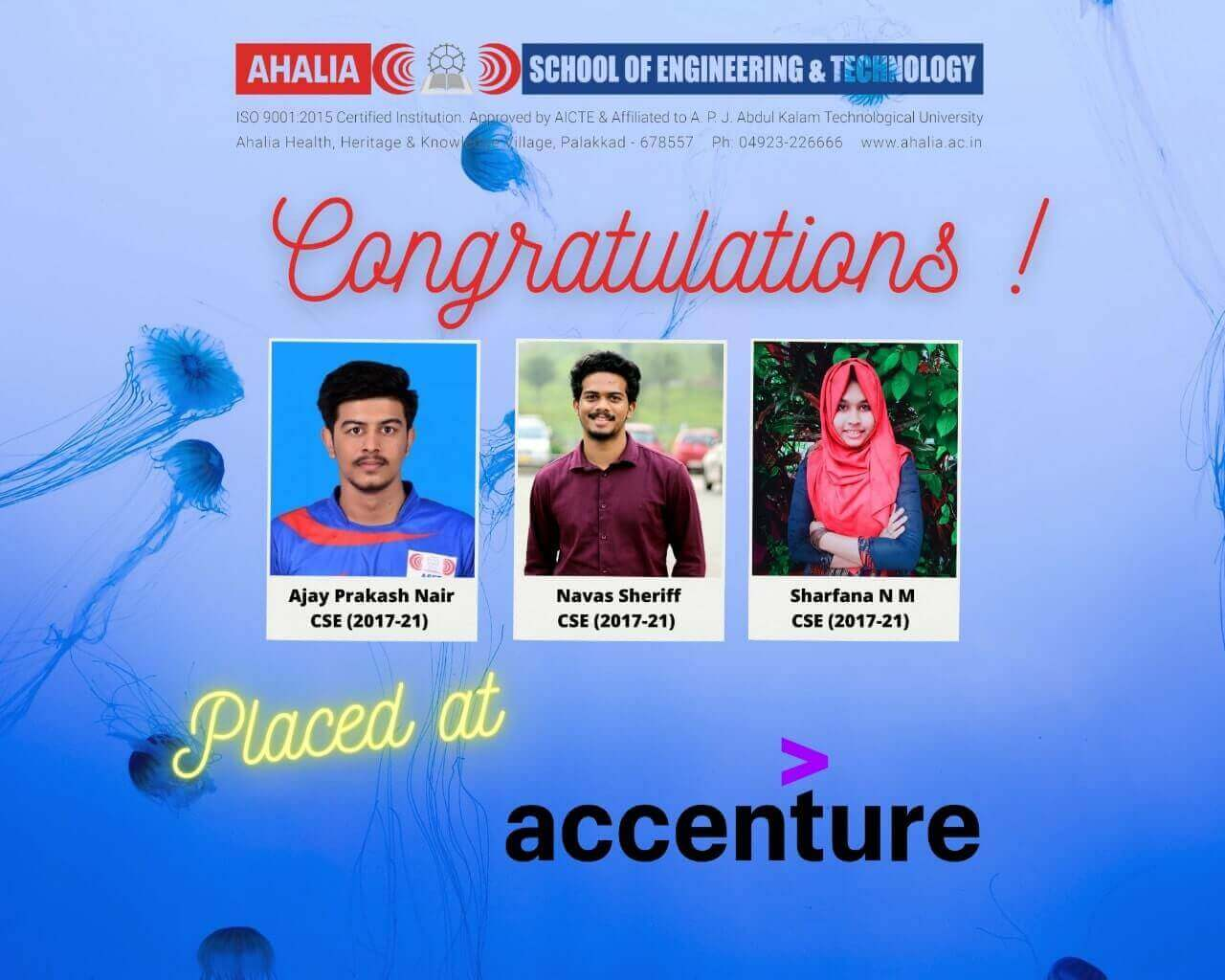 Three Students Placed in Accenture