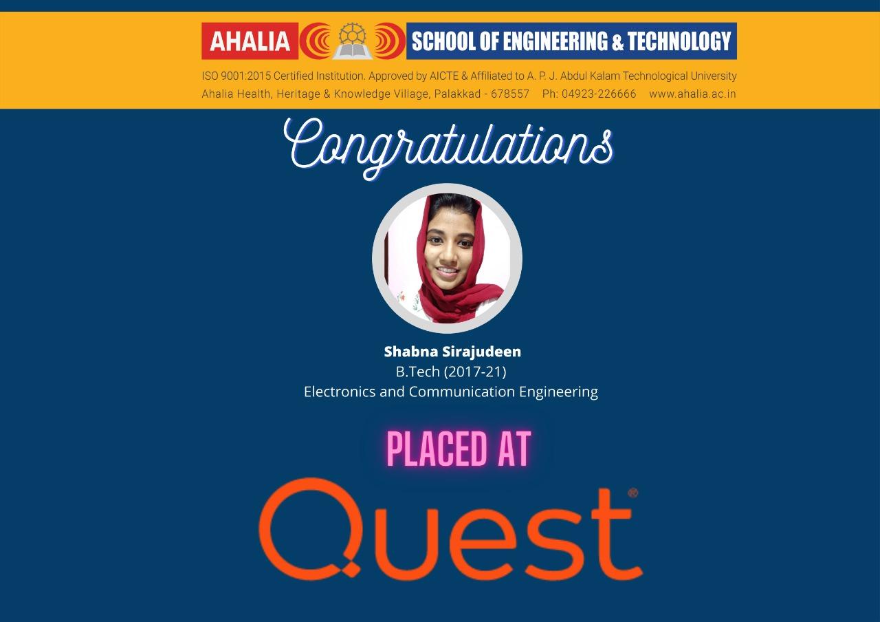 Shabna Sirajudeen Placed at Quest