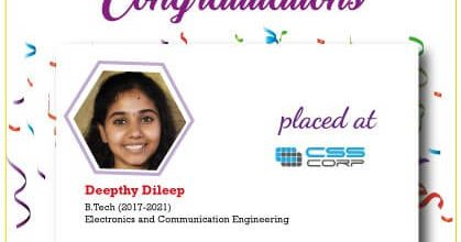 Deepthy Dileep Placed at CSS CORP