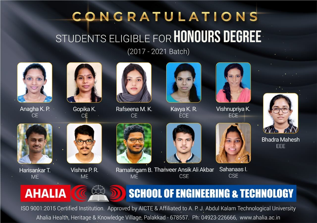 2017-21 Batch – Students with Honours Degree